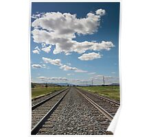 Railroad Tracks and Cloudy Sky Poster