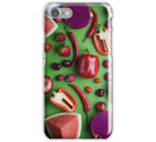 Red food on green iPhone Case/Skin
