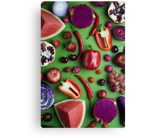 Red food on green Canvas Print