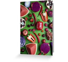 Red food on green Greeting Card