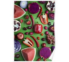 Red food on green Poster