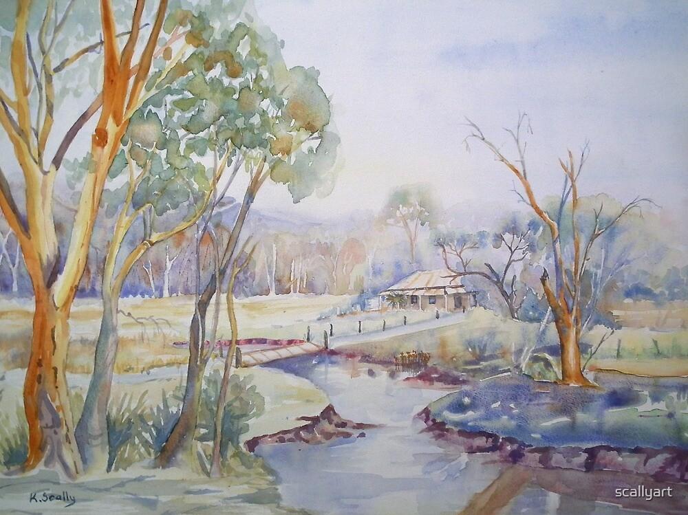 Down near the River - Watercolour by scallyart