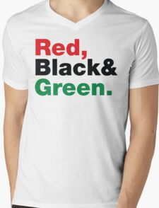 Red, Black & Green. Mens V-Neck T-Shirt