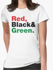 Red, Black & Green. Womens Fitted T-Shirt
