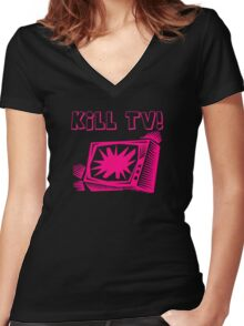 Kill TV by Chillee Wilson Women's Fitted V-Neck T-Shirt