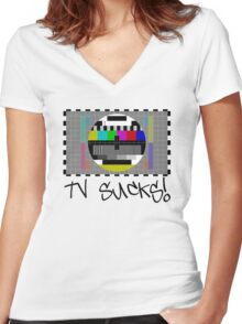 TV Sucks! by Chillee Wilson Women's Fitted V-Neck T-Shirt