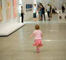 Girl in a gallery by Margaret Whyte
