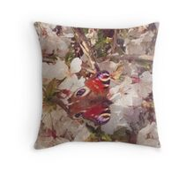 Butterfly on Blossom Watercolour Throw Pillow