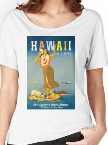 Hawaii Vintage Travel Poster Restored Women's Relaxed Fit T-Shirt