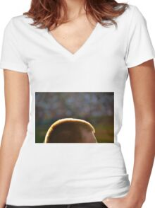 Backlit Buzz Cut Women's Fitted V-Neck T-Shirt