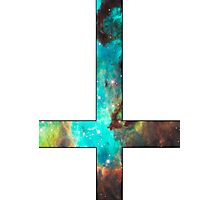 Green Galaxy Inverted Cross White Photographic Print