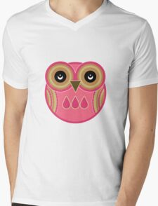 Pink Owl Mens V-Neck T-Shirt