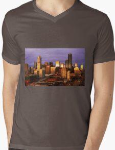 Melbourne at sunset, from Docklands Mens V-Neck T-Shirt