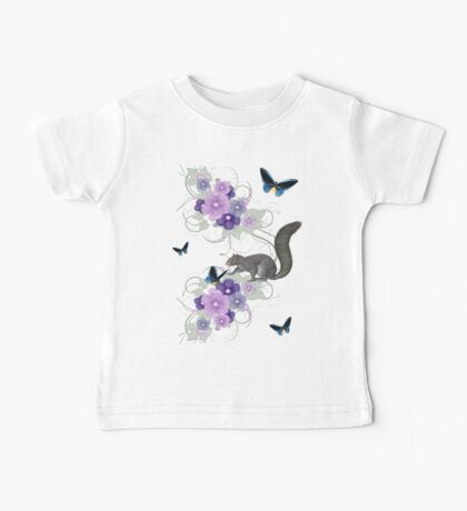 Playful Squirrel and Butterflies Baby Tee