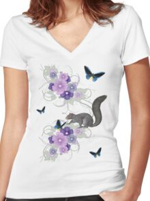Playful Squirrel and Butterflies Women's Fitted V-Neck T-Shirt