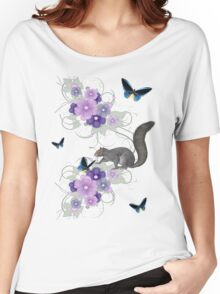 Playful Squirrel and Butterflies Women's Relaxed Fit T-Shirt