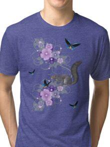 Playful Squirrel and Butterflies Tri-blend T-Shirt