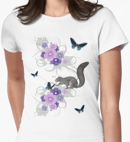 Playful Squirrel and Butterflies Womens Fitted T-Shirt