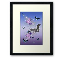 Playful Squirrel and the Butterflies Framed Print