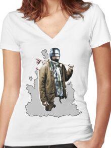 Hobocop Women's Fitted V-Neck T-Shirt