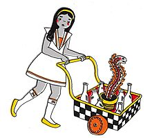 Funky School Girl with a Snake Trolley Photographic Print