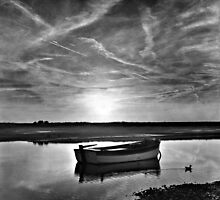 High tide at Burnham Overy Staithe, Norfolk, UK by Richard Flint