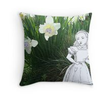 Alice and the Talking Flowers Throw Pillow