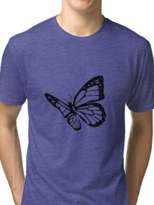 Black Butterfly Vector Art Tri-blend T-Shirt