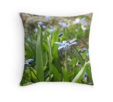 Dressing my garden in Blues Throw Pillow