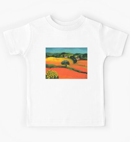 TUSCANY LANDSCAPE  WITH SUNFLOWERS Kids Tee