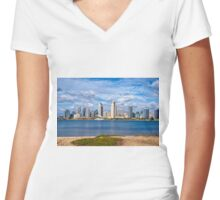 SKYLINE Women's Fitted V-Neck T-Shirt
