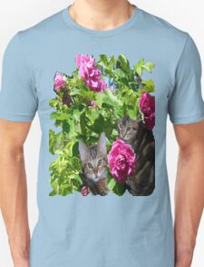 Kittens in The Roses,2 Unisex T-Shirt