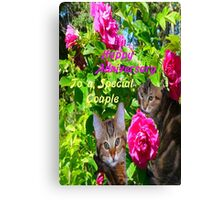 Kittens and Roses Anniversary Card Canvas Print