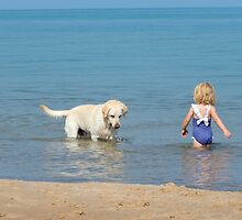 Maelie and Wrigley Enjoying Summer by Kathleen Brant