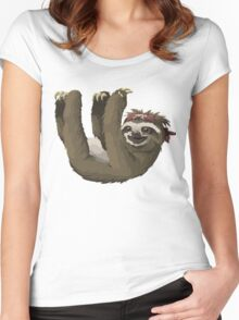 Happy Hanging Sloth Pirate Women's Fitted Scoop T-Shirt