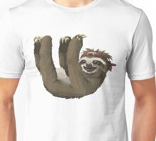 Happy Hanging Sloth Pirate Unisex T-Shirt