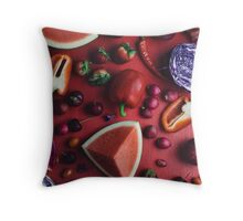 Red and purple food Throw Pillow