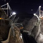 Nevada/Arizona: Hoover Dam Bypass Under Construction at Night by tpfmiller