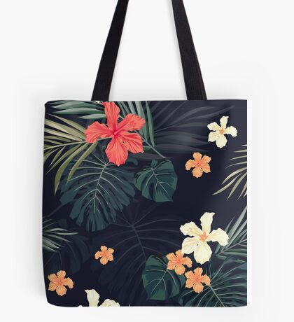 Dark tropical flowers Tote Bag