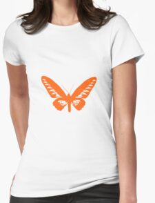 Orange Butterfly - Vector Art Womens Fitted T-Shirt