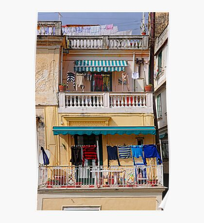 washing washing everywhere, Amalfi, Campania, Italy Poster