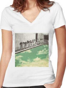"""""""Skydiving"""" Women's Fitted V-Neck T-Shirt"""