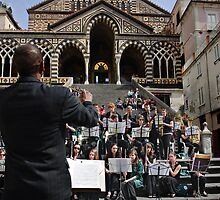 Mounds View, High School Band, Arden Hills, Minnesota, playing in Amalfi, Campania, Italy  by Andrew Jones