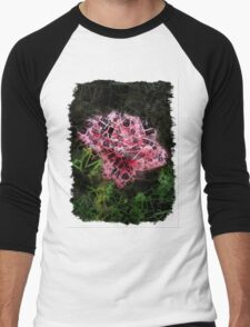 Pink Roses in Anzures 3 Letters 2 Men's Baseball ¾ T-Shirt