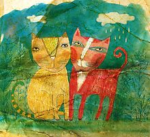 two cats  by agneslaczo
