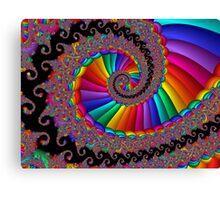Fancy Fractal Rainbow Spiral Canvas Print