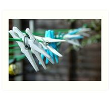 Clothes pegs on my washing line Art Print