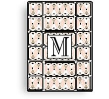 1920s Pink Champagne Gatsby Monogram letter M Canvas Print