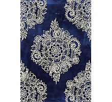 Cream Floral Moroccan Pattern on Deep Indigo Ink Photographic Print