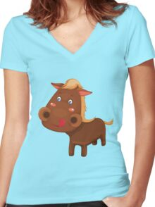 Little cute pony Women's Fitted V-Neck T-Shirt